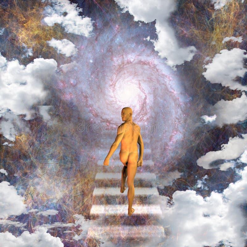 Mann auf einem Treppenhaus zum Himmel stock abbildung