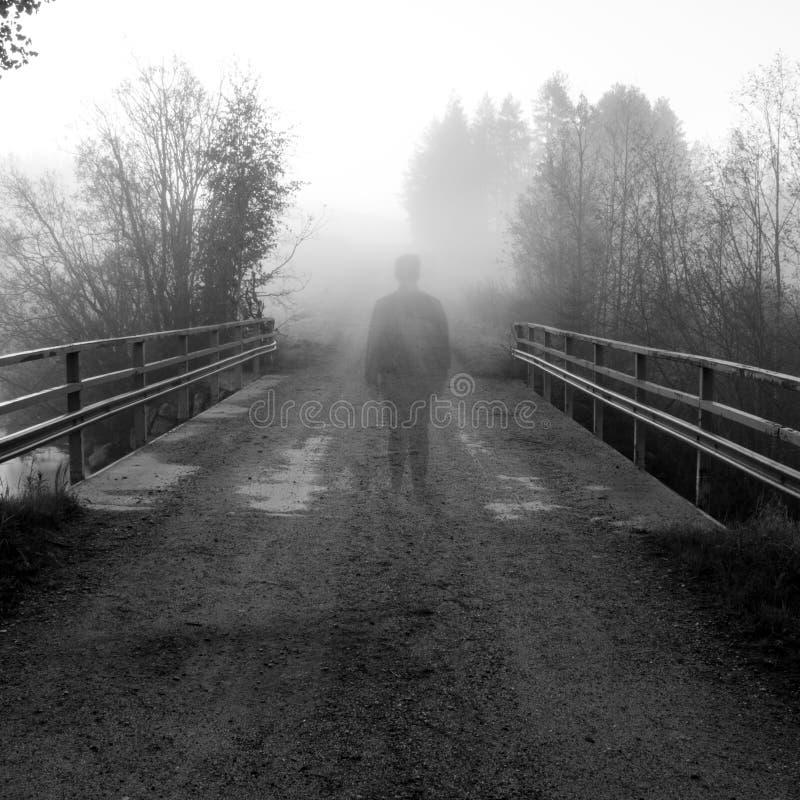 Mann auf einer Brücke lizenzfreies stockfoto