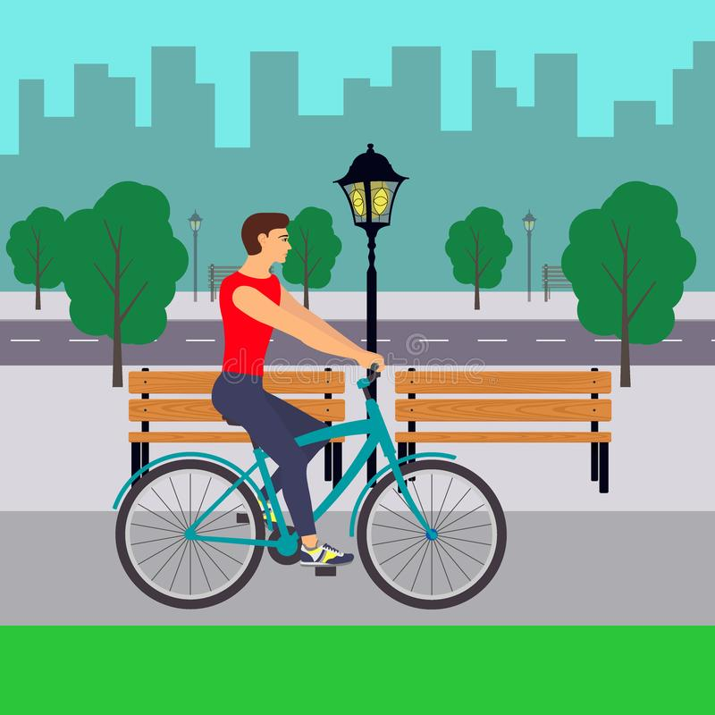 Mann auf Fahrrad auf Stadtstraße Radfahrer in der Stadt Flache Illustration stock abbildung