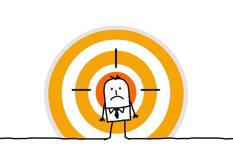 Mann auf gelbem Ziel lizenzfreie abbildung