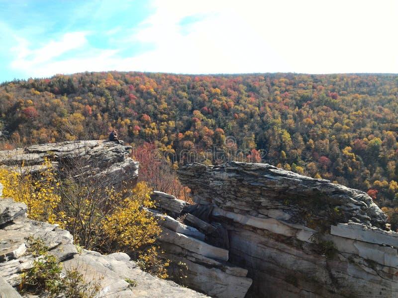 Mann auf Ledge Overlooking das Allegheny-Gebirgstal in West Virginia stockfotografie