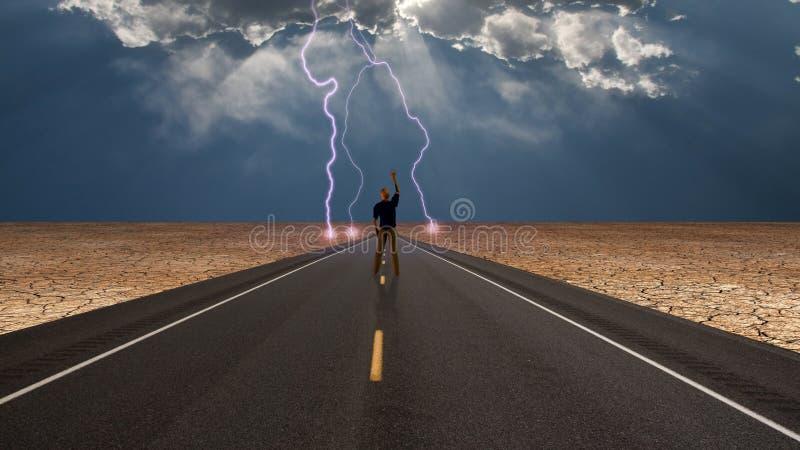 Mann auf Straße vor Sturm lizenzfreie abbildung
