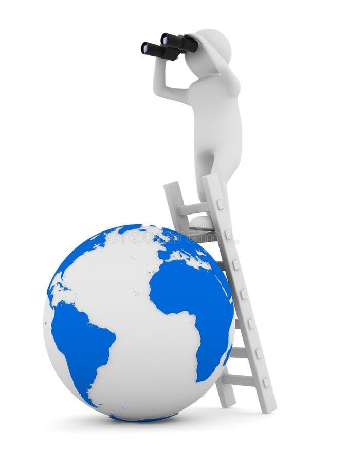 Mann auf Treppenhaus lizenzfreie abbildung