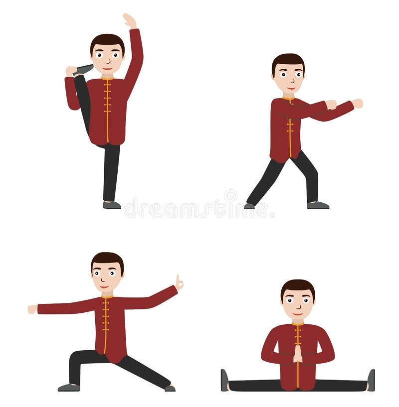 Mann Ausführungsqigong oder taijiquan Übungen lizenzfreie abbildung