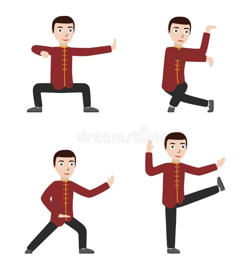 Mann Ausführungsqigong oder taijiquan Übungen vektor abbildung