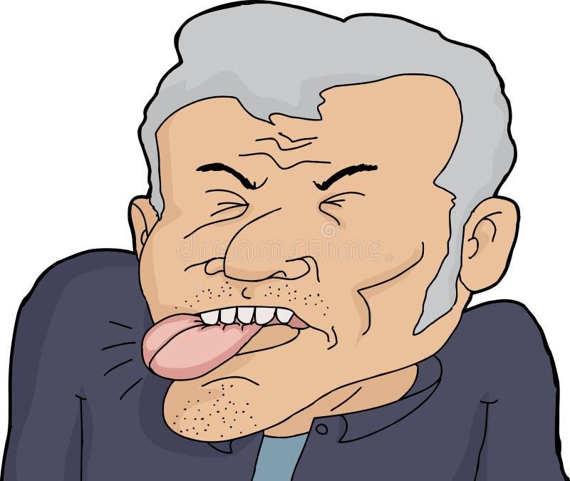 Mann-beißende Zunge stock abbildung