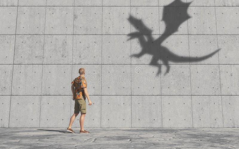 Mann betrachtet den Schatten eines Drachen auf der Wand stock abbildung