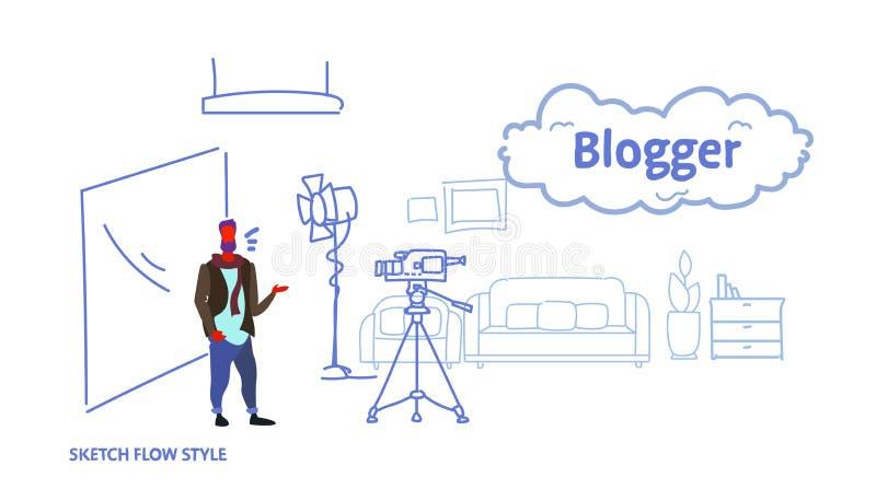 Mann Blogger-Aufnahmevideo auf dem Kamerakerl, der voll Social Media-Blogkonzept des modernen Hauptwohnzimmers Innensteht vektor abbildung
