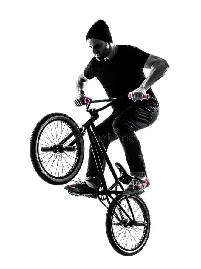 Mann Bmx Akrobatische Abbildung Schattenbild Stockfoto - Bild von ...