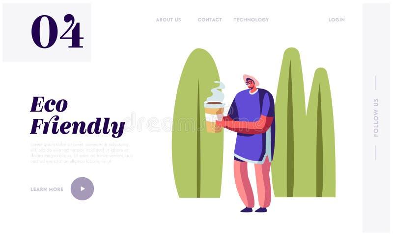 Mann Carry Coffee in der freundlichen Papierpaket-Schale Eco auf Sommer-Landschaftshintergrund Charakter-Gebrauchs-Ökologie-Verp lizenzfreie abbildung