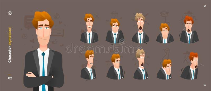 Mann-Charakter-Ausdrücke lizenzfreie abbildung