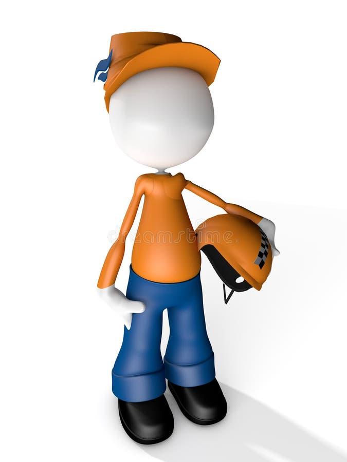 Mann-Charakter-Kurier-Delivery-Griff ein Moto-Sturzhelm lizenzfreie abbildung
