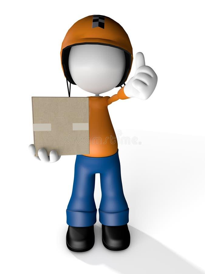 Mann-Charakter-Kurier-Delivery-Griff Kasten mit Moto-Sturzhelm lizenzfreie abbildung
