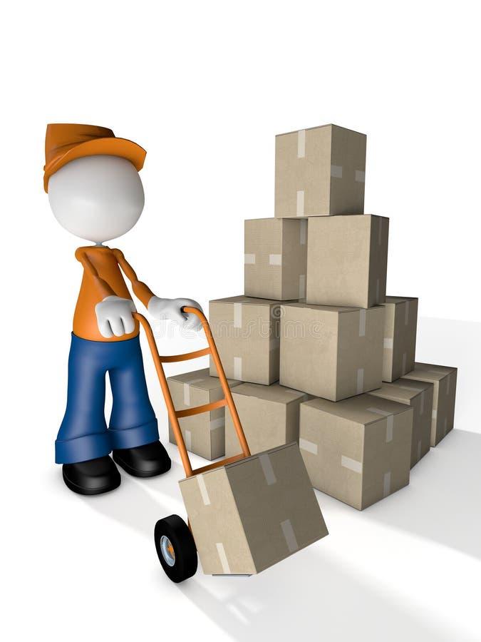 Mann-Charakter-Kurier Delivery mit Gabelhubwagen stock abbildung
