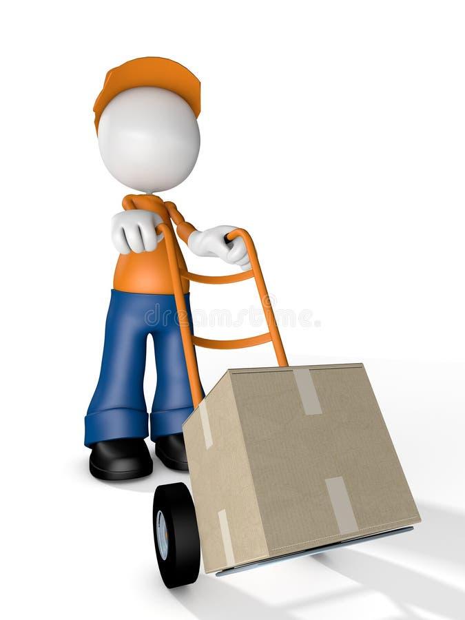 Mann-Charakter-Kurier-Delivery-Transport Kasten lizenzfreie abbildung