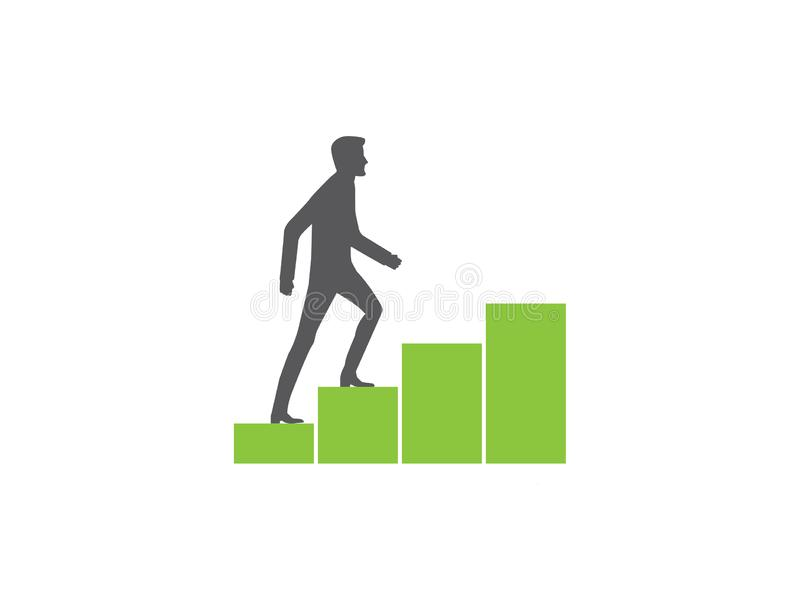 Mann climbin wachsendes Diagramm lizenzfreie abbildung