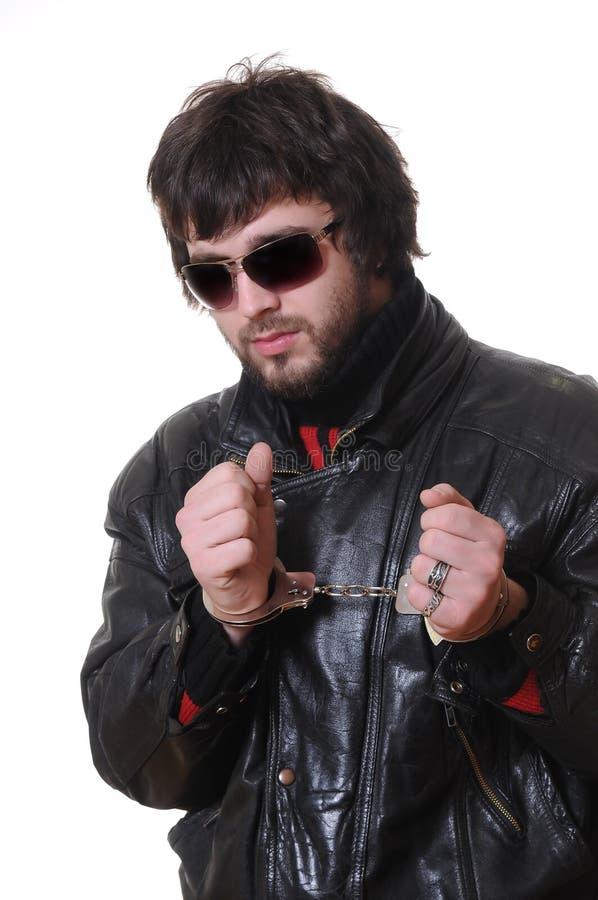 Mann cuffed stockfotografie