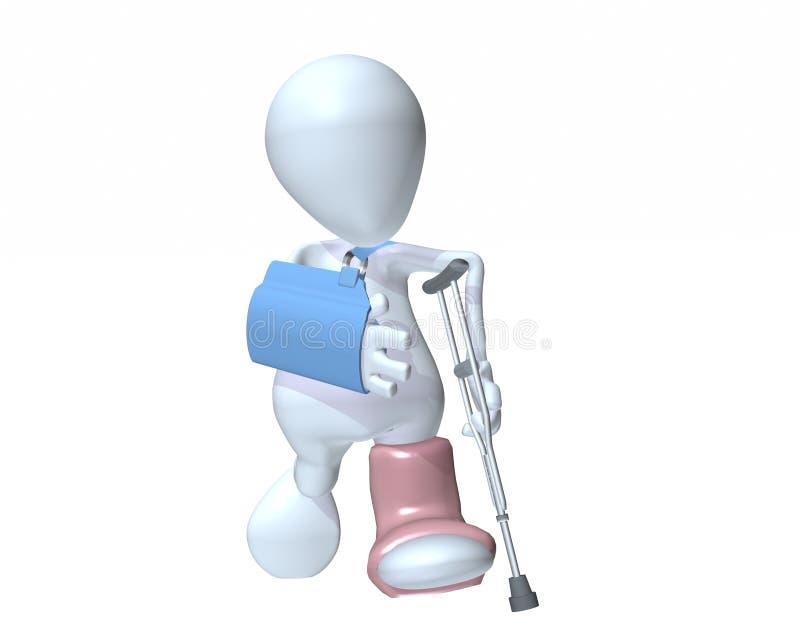 Mann 3d, der auf die Krücken tragen eine Armriemen- und -fußform geht vektor abbildung