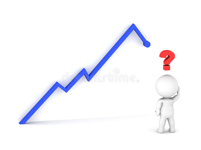 Mann 3D, der die Aktienkurve denkt was zu tun betrachtet stock abbildung