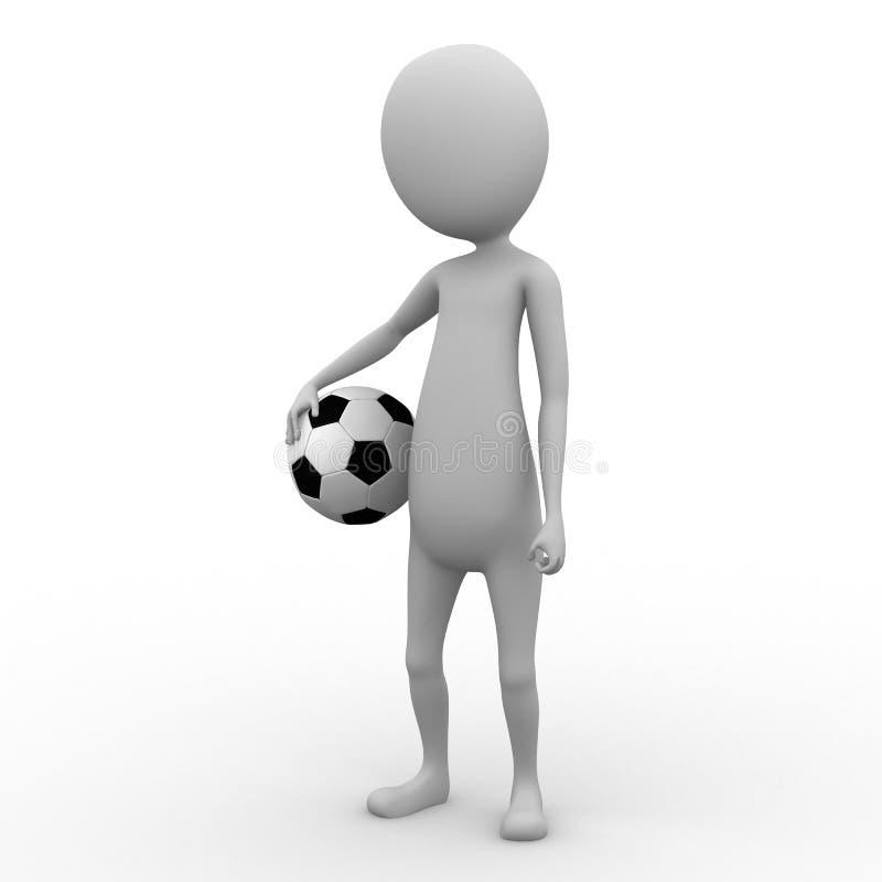 Mann 3D, der eine Fußballkugel anhält stock abbildung
