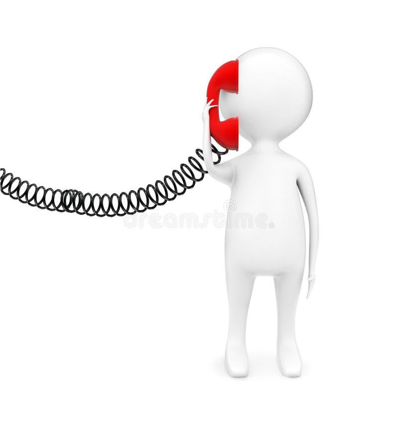 Mann 3d, der einen telehone Empfänger hält und ein Gesprächskonzept hat stock abbildung