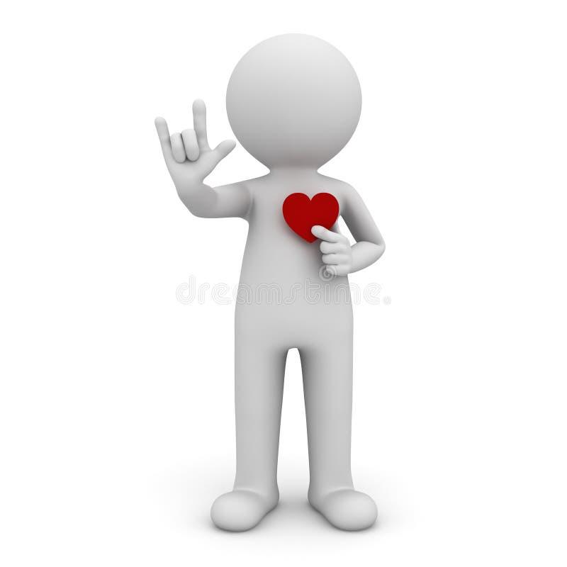Mann 3d, der ich liebe dich Handzeichen mit dem roten Herzen lokalisiert über weißem Hintergrund tut stock abbildung