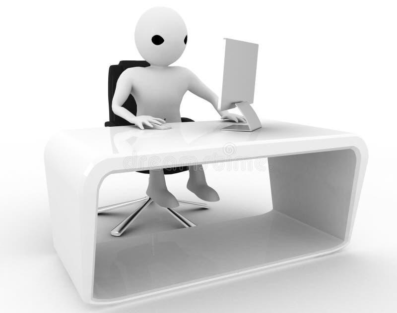 Mann 3d, der im Büro auf Bildschirm arbeitet und drahtlose Mäuseillustration verwendet vektor abbildung