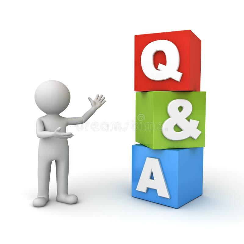Mann 3d, der q- und a-Wortfrage und antworten-Konzept über Weiß steht und darstellt vektor abbildung