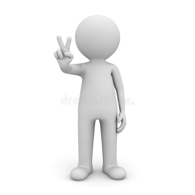 Mann 3d, der Sieghandzeichen auf weißem Hintergrund mit Schatten zeigt lizenzfreie abbildung