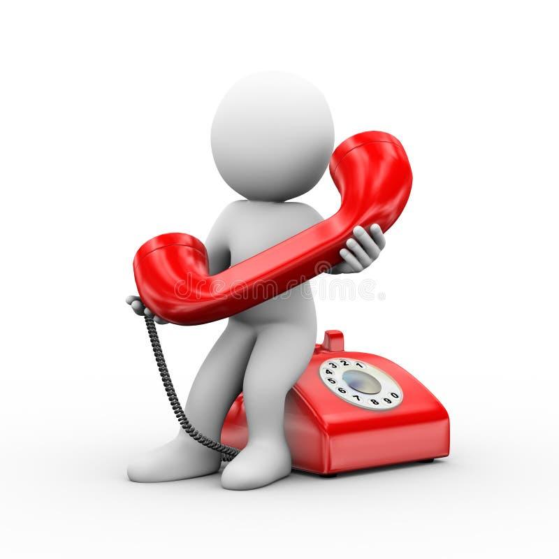 Mann 3d, der Telefon hält lizenzfreie abbildung