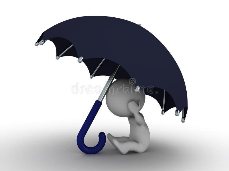 Mann 3D, der unter Regenschirm - Sicherheits-Konzept sich versteckt lizenzfreie abbildung