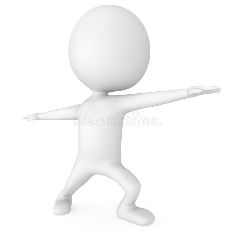 Mann 3d, der Yogaübung tut lizenzfreie abbildung