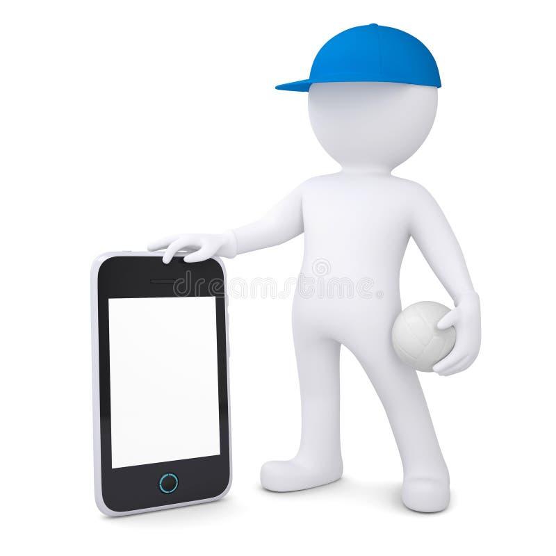 Mann 3d mit dem Volleyballball, der Smartphone hält vektor abbildung