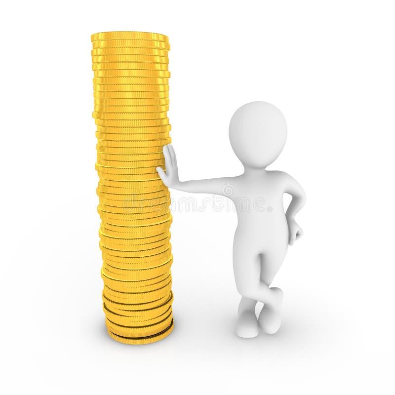 Mann 3d mit den goldenen Münzen lokalisiert auf weißem Hintergrund lizenzfreie stockbilder