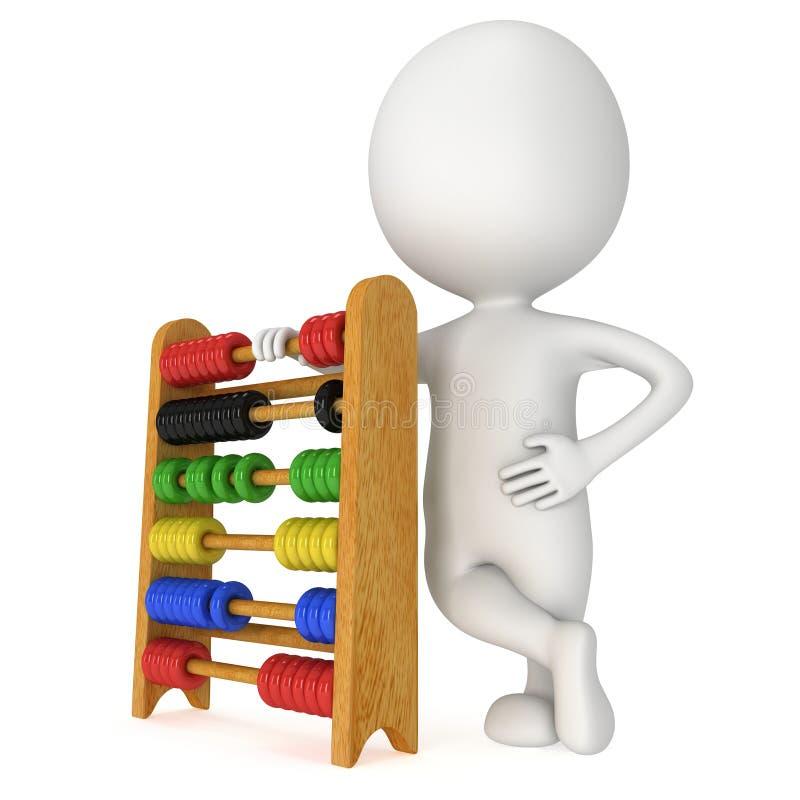 Mann 3d mit Spielzeugabakus stock abbildung