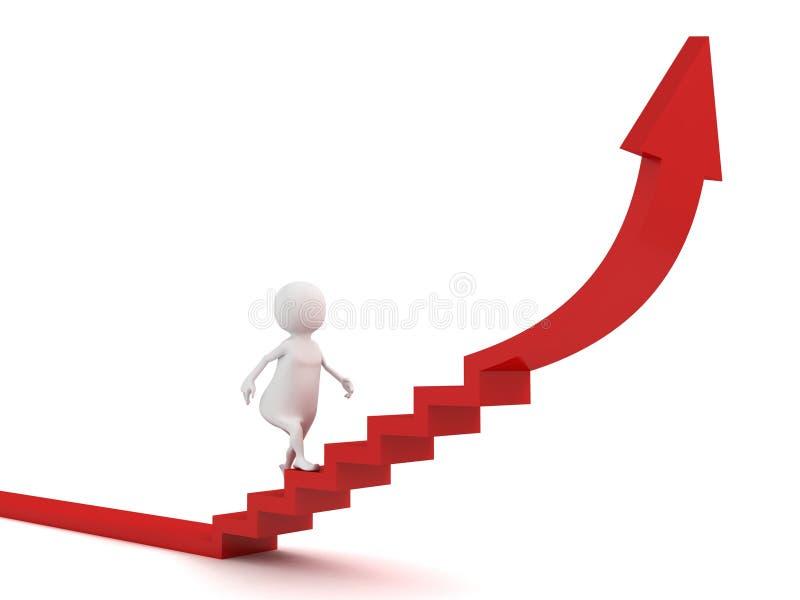 Mann 3d steigert zum Erfolg auf Treppenrotpfeil stock abbildung