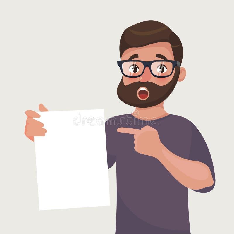 Mann in den Gläsern mit Bart zeigt ein Blatt Papier mit dem Vertrag oder anderem Dokument Auch im corel abgehobenen Betrag lizenzfreie abbildung