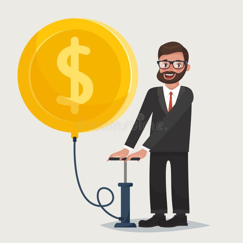 Mann in den Gläsern mit dem Bart, der einen Ballon in Form einer Goldmünze durchbrennt Zeichen des Dollars auf dem Ballon stock abbildung