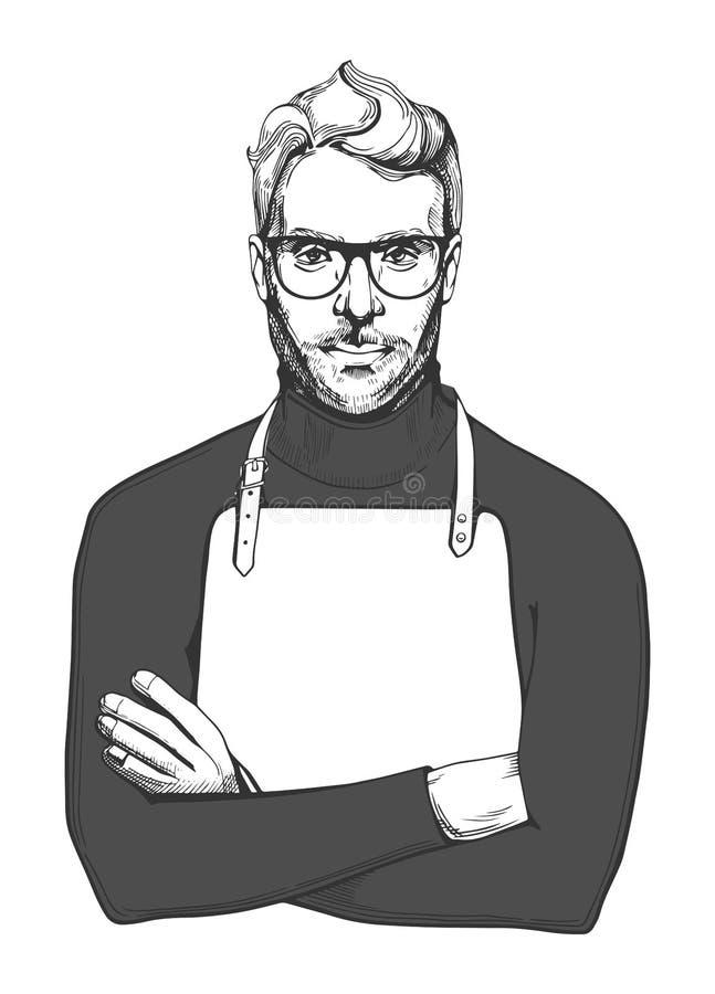 Mann in den Gläsern und im Schutzblech stock abbildung