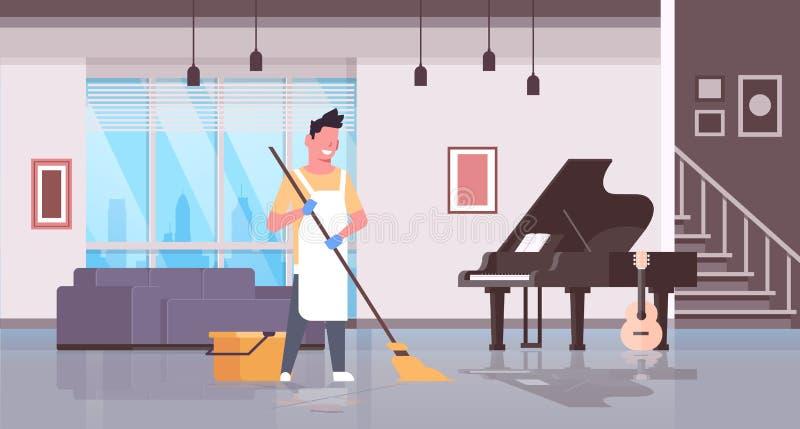 Mann in den Handschuhen und Schutzblechreinigungsbodenkerl unter Verwendung des Mops, der Haus-Wohnzimmerinnenraum des Hausarbeit vektor abbildung
