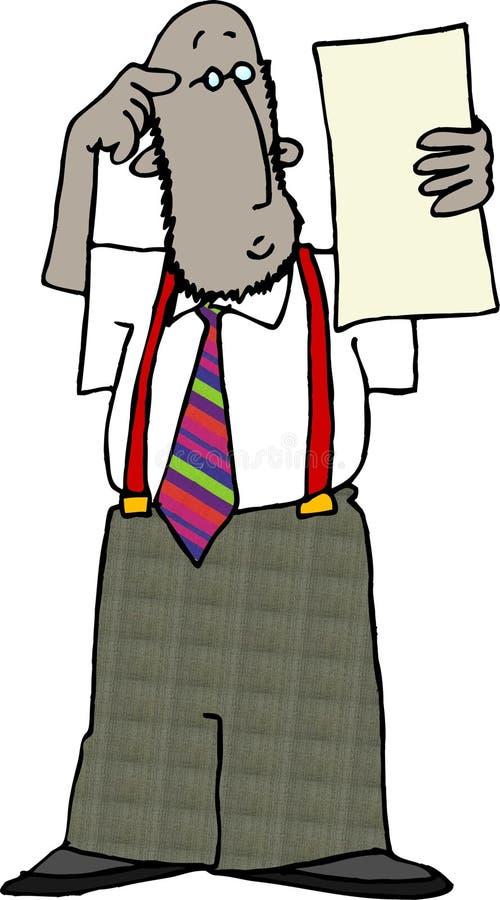 Mann in den roten Hosenträgern lizenzfreie abbildung