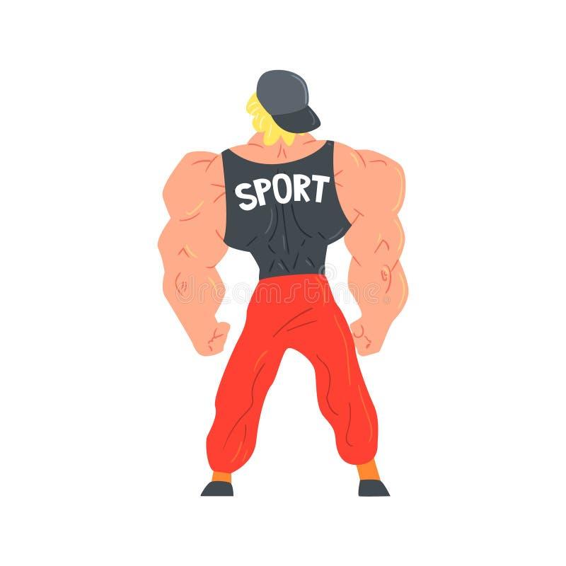 Mann in den roten sportiven Hosen und Kappen-Bodybuilder-lustiger lächelnder Charakter auf den Steroiden, die Muskeln als starker vektor abbildung