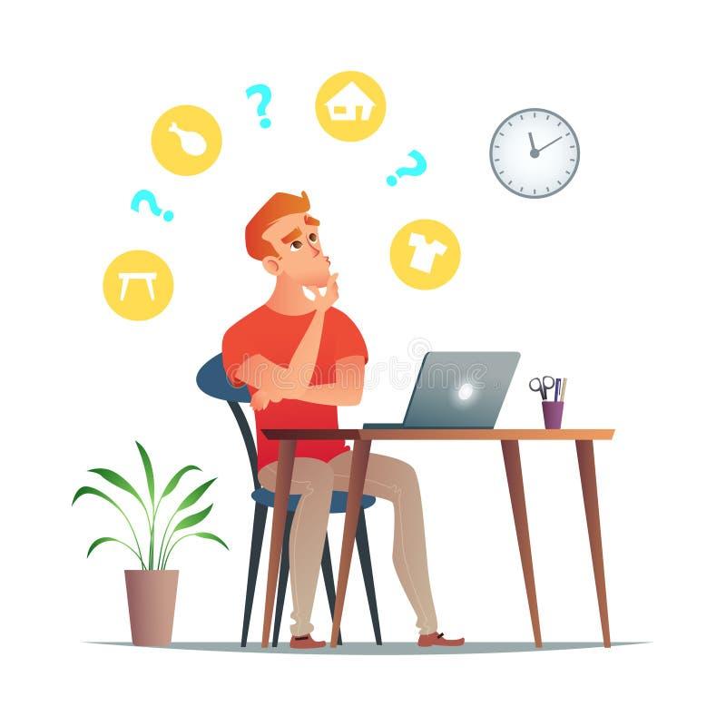 Mann denkt an was, in seinem Online-Shop zu verkaufen Eine andere Nische, wie Kleidung, Immobilien, Lebensmittel oder Möbel lizenzfreie abbildung