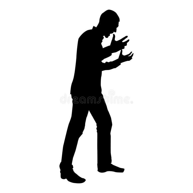 Mann, der in der Ärgerschattenbildkonzeptkonfliktikonenschwarz-Farbillustration schreit stock abbildung