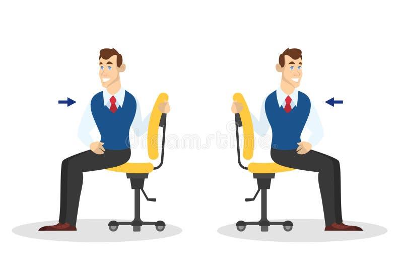 Mann, der Übung für hintere Ausdehnung im Büro tut stock abbildung