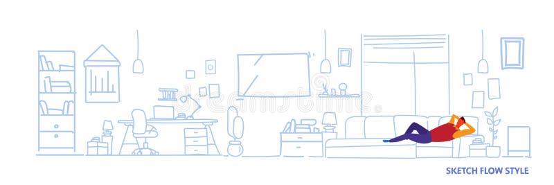 Mann, der auf Arbeitsplatzkabinettwohnzimmerinnenskizzenfluss-Art der Couch horizontaler Fahne der modernen sich entspannt vektor abbildung
