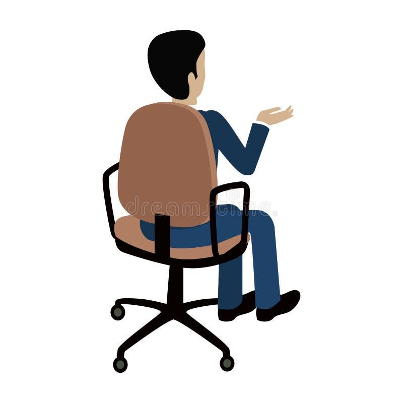 Mann, der auf dem Stuhl sitzt und auf etwas zeigt stock abbildung