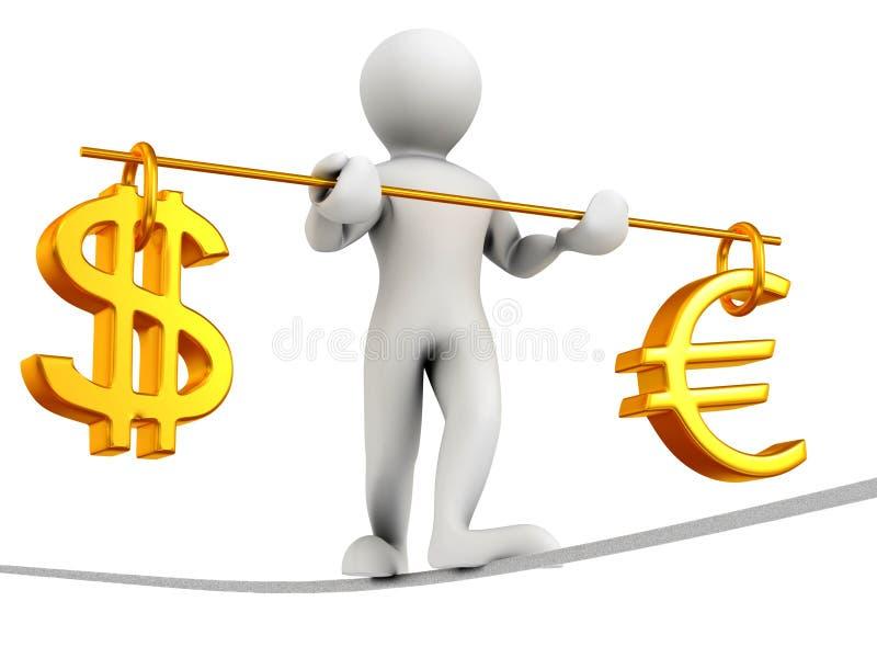 Mann, der auf ein Seil geht. Schwerpunkt des Dollars und des Euro vektor abbildung