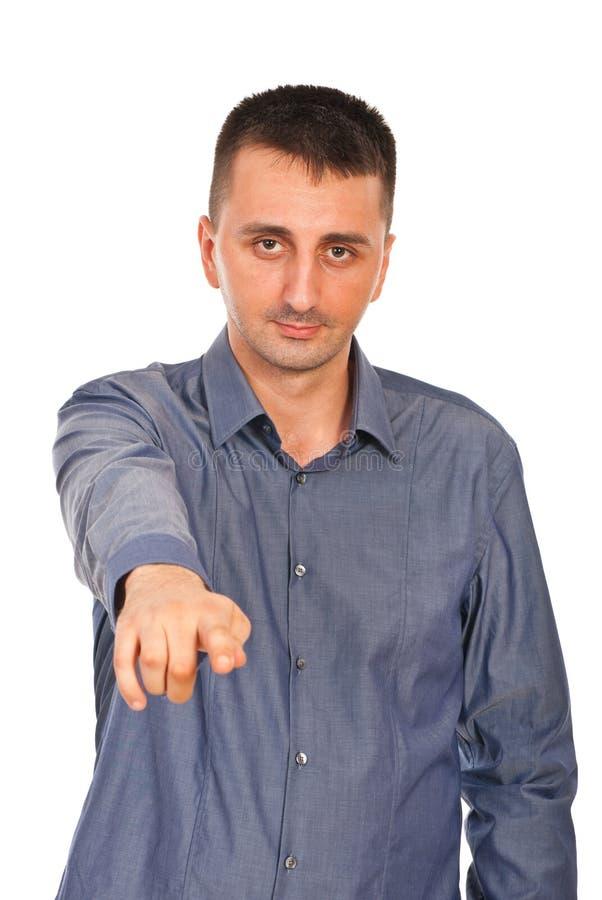 Mann, der auf Sie zeigt lizenzfreies stockfoto