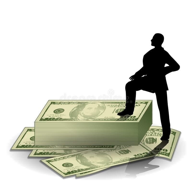 Mann, der auf Stapel Geld steht stock abbildung